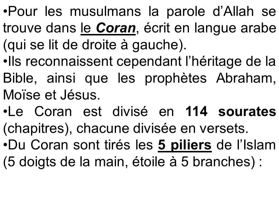 Pour les musulmans la parole dAllah se trouve dans le Coran, écrit en langue arabe (qui se lit de droite à gauche). Ils reconnaissent cependant lhérit