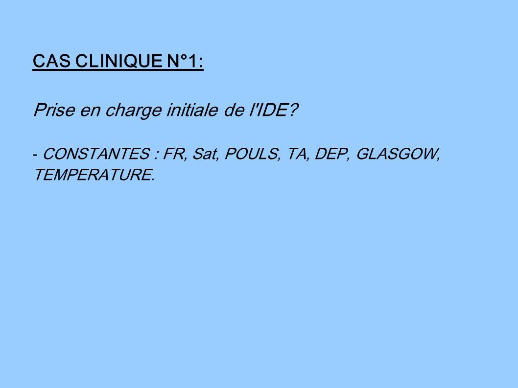 CAS CLINIQUE N°1: Prise en charge initiale de l'IDE? - CONSTANTES : FR, Sat, POULS, TA, DEP, GLASGOW, TEMPERATURE.