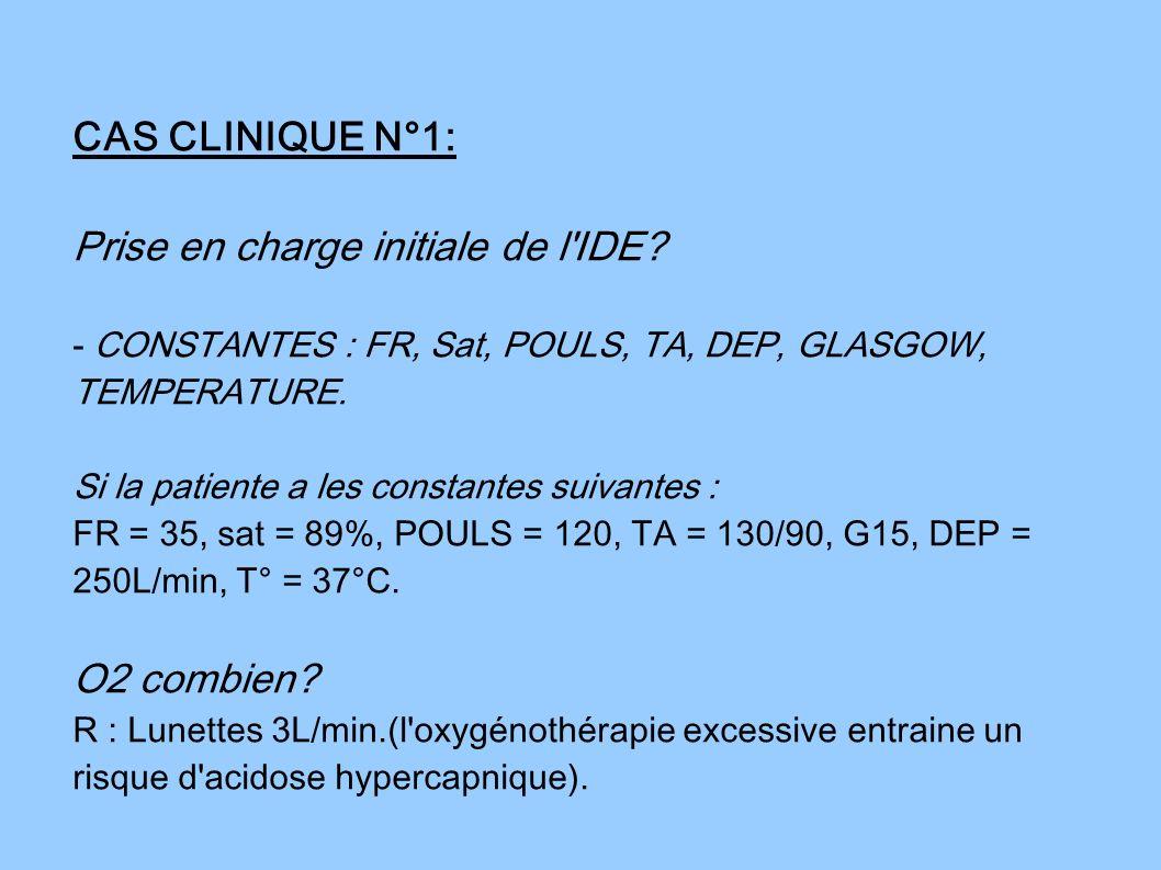 CAS CLINIQUE N°1: Prise en charge initiale de l'IDE? - CONSTANTES : FR, Sat, POULS, TA, DEP, GLASGOW, TEMPERATURE. Si la patiente a les constantes sui