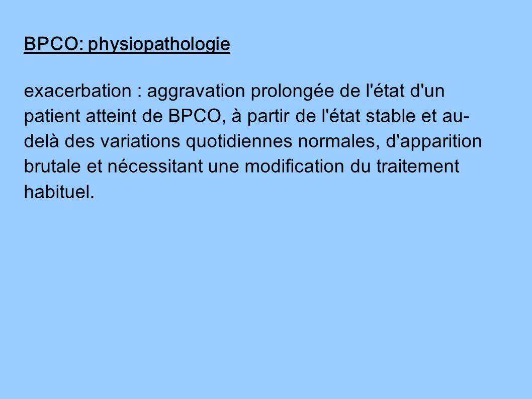 exacerbation : aggravation prolongée de l'état d'un patient atteint de BPCO, à partir de l'état stable et au- delà des variations quotidiennes normale