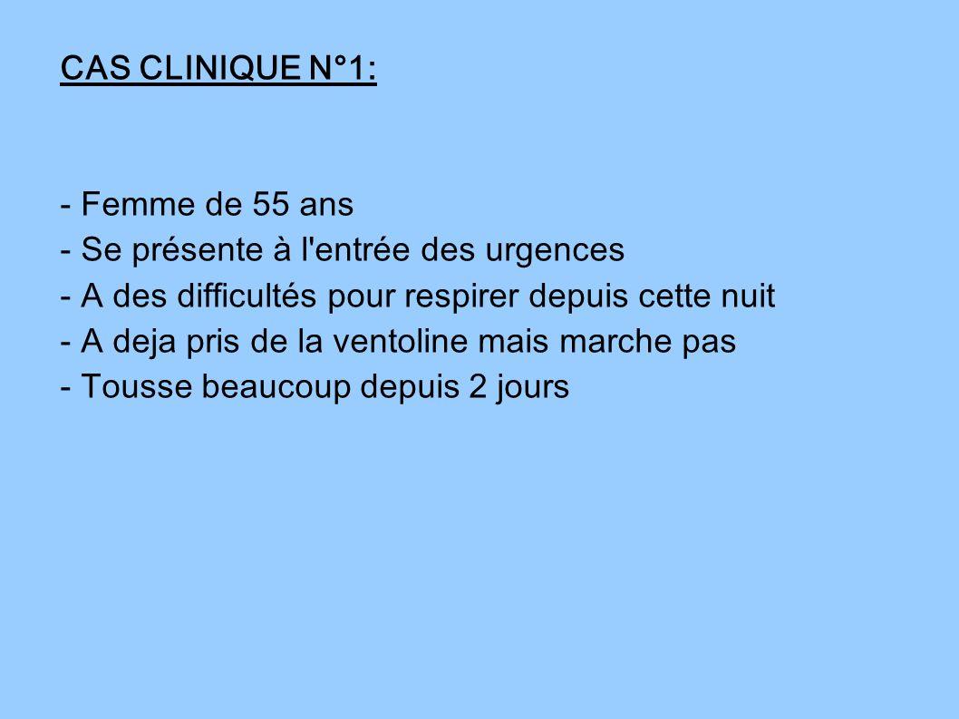 CAS CLINIQUE N°1: - Femme de 55 ans - Se présente à l'entrée des urgences - A des difficultés pour respirer depuis cette nuit - A deja pris de la vent