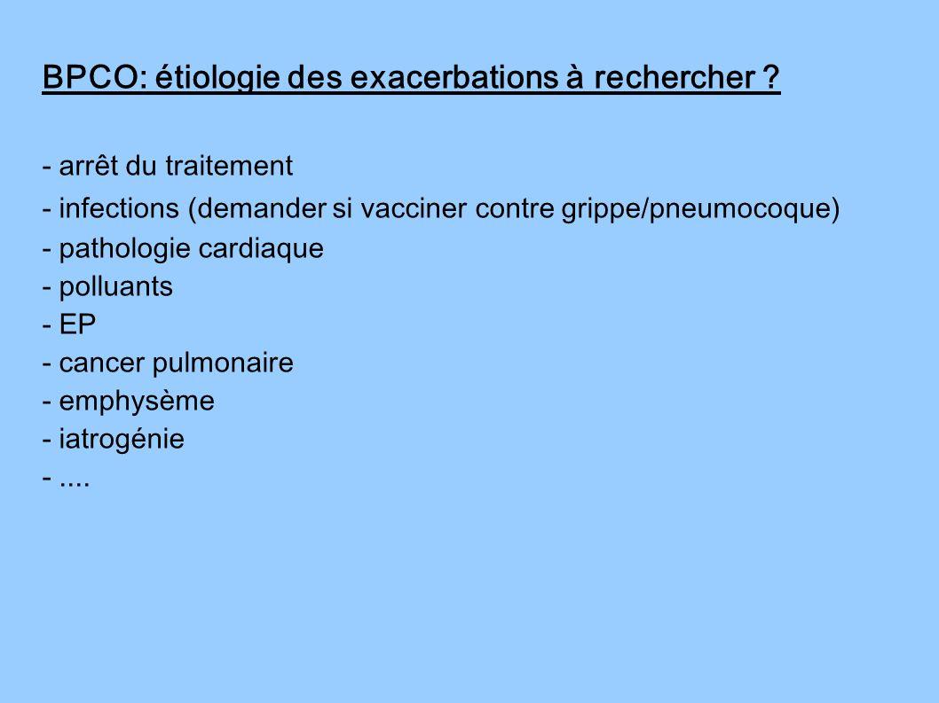 - arrêt du traitement - infections (demander si vacciner contre grippe/pneumocoque) - pathologie cardiaque - polluants - EP - cancer pulmonaire - emph