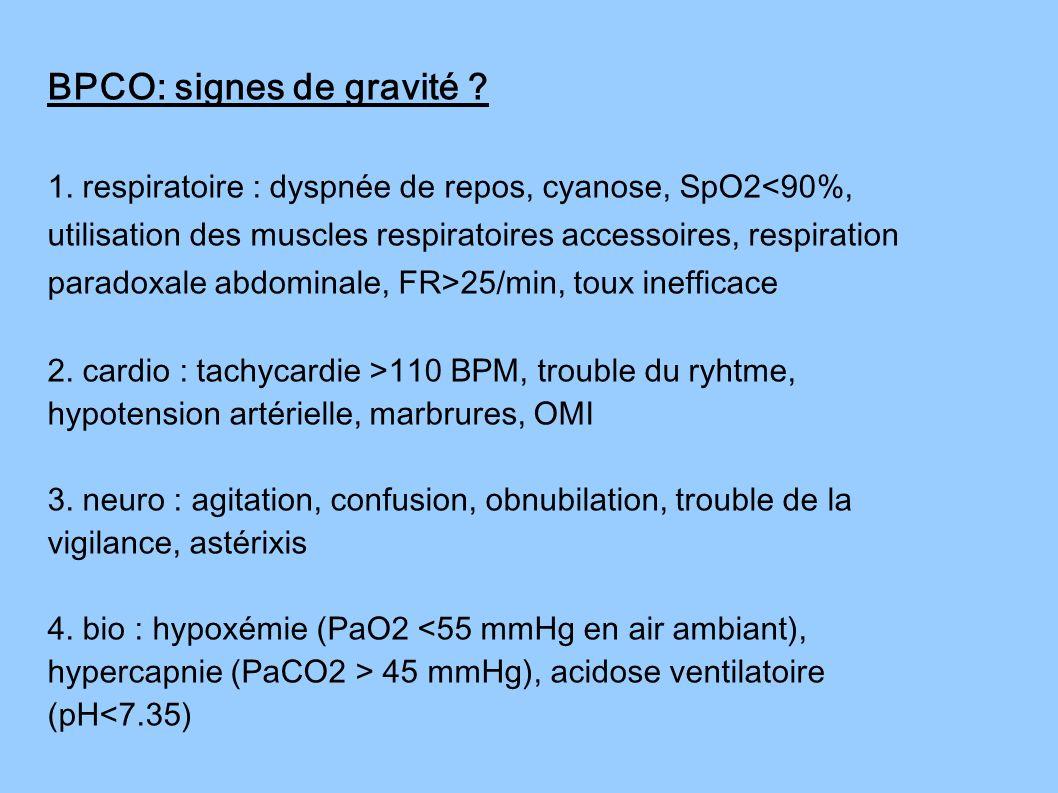 1. respiratoire : dyspnée de repos, cyanose, SpO2 25/min, toux inefficace 2. cardio : tachycardie >110 BPM, trouble du ryhtme, hypotension artérielle,