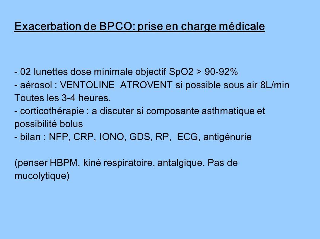 Exacerbation de BPCO: prise en charge médicale - 02 lunettes dose minimale objectif SpO2 > 90-92% - aérosol : VENTOLINE ATROVENT si possible sous air