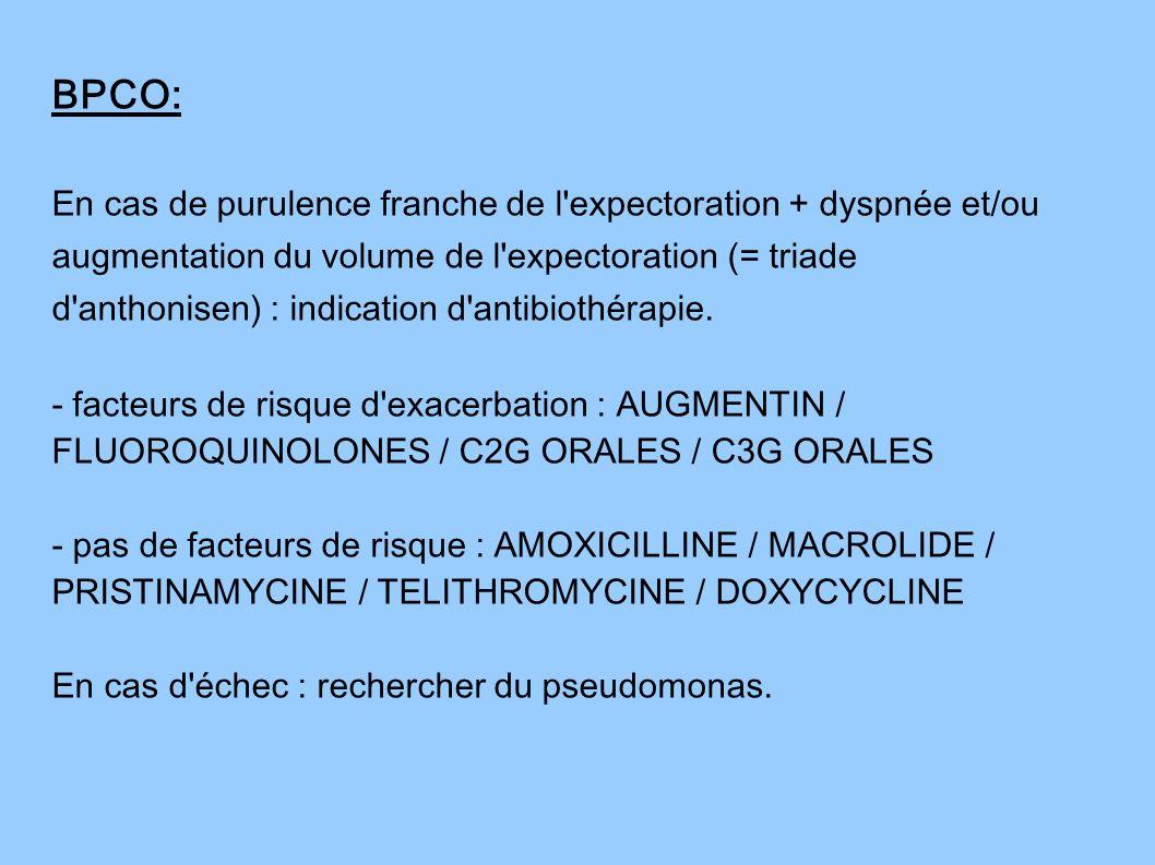 BPCO: En cas de purulence franche de l'expectoration + dyspnée et/ou augmentation du volume de l'expectoration (= triade d'anthonisen) : indication d'