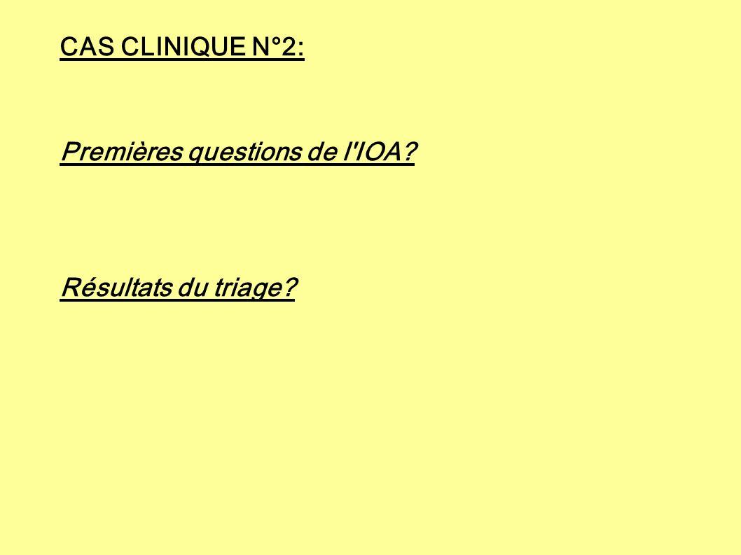 CAS CLINIQUE N°2: Premières questions de l'IOA? Résultats du triage?