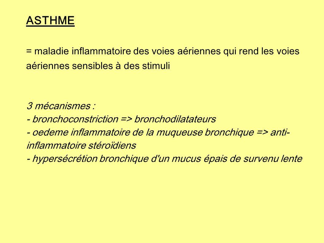 ASTHME = maladie inflammatoire des voies aériennes qui rend les voies aériennes sensibles à des stimuli 3 mécanismes : - bronchoconstriction => bronch