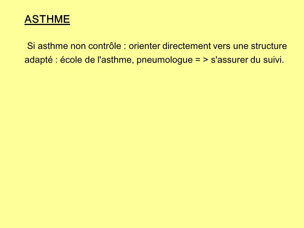 ASTHME Si asthme non contrôle : orienter directement vers une structure adapté : école de l'asthme, pneumologue = > s'assurer du suivi.