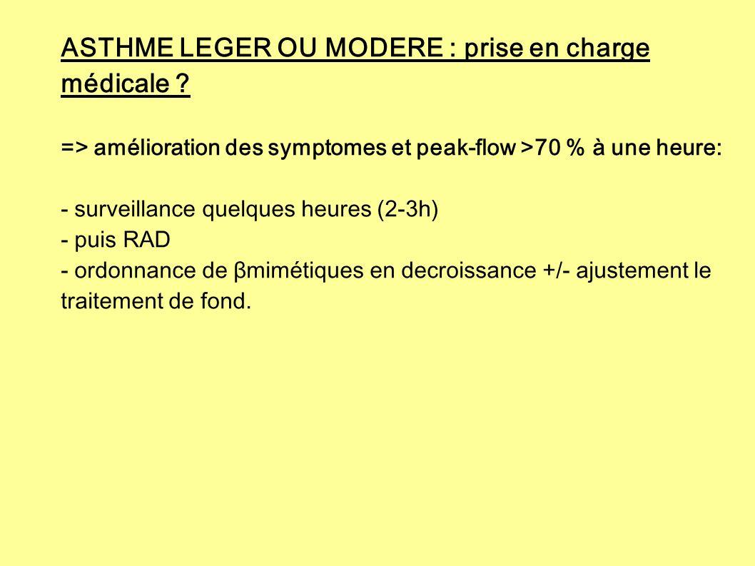 ASTHME LEGER OU MODERE : prise en charge médicale ? => amélioration des symptomes et peak-flow >70 % à une heure: - surveillance quelques heures (2-3h