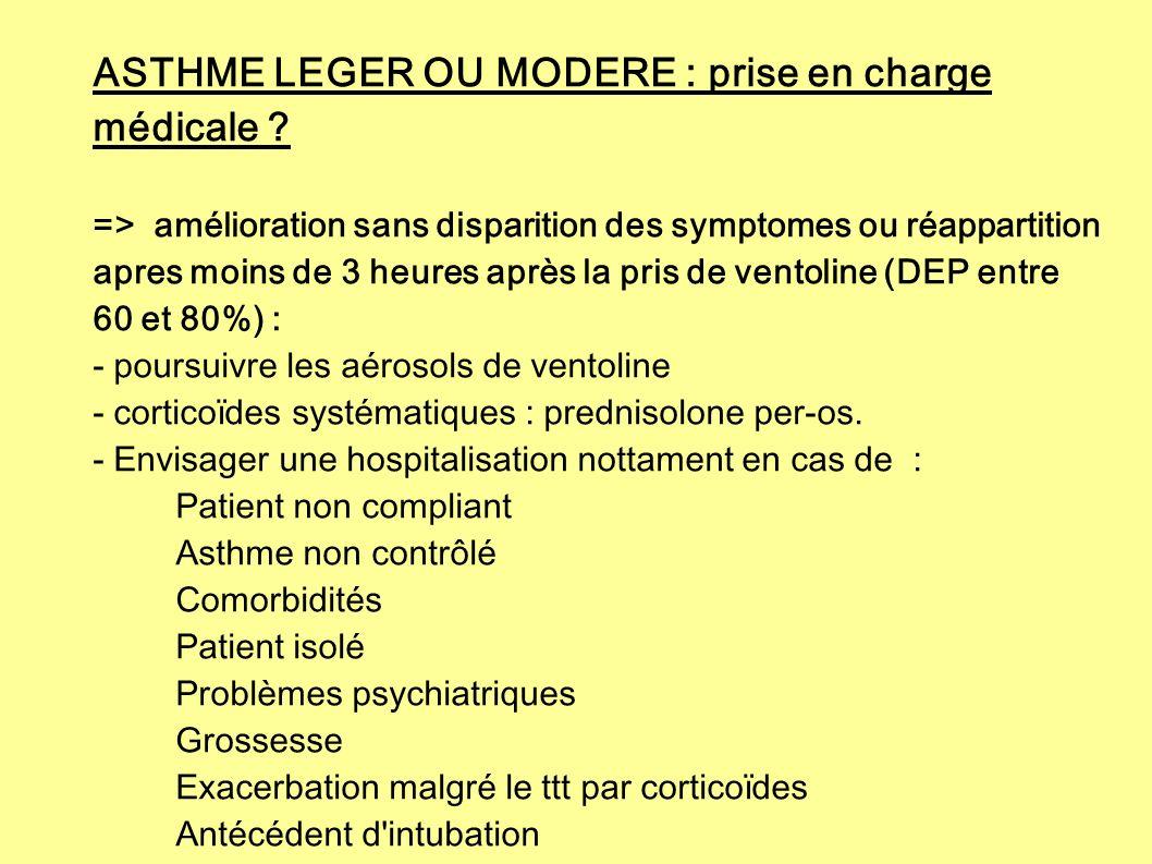 ASTHME LEGER OU MODERE : prise en charge médicale ? => amélioration sans disparition des symptomes ou réappartition apres moins de 3 heures après la p