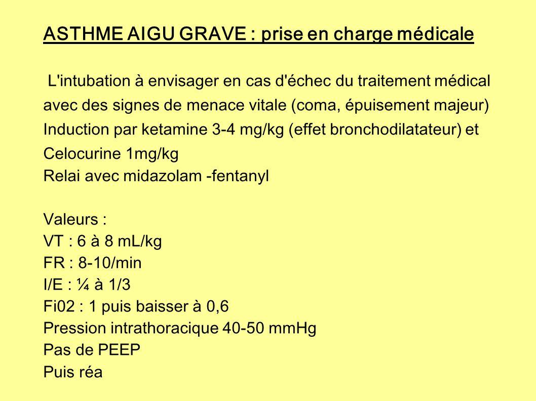 ASTHME AIGU GRAVE : prise en charge médicale L'intubation à envisager en cas d'échec du traitement médical avec des signes de menace vitale (coma, épu