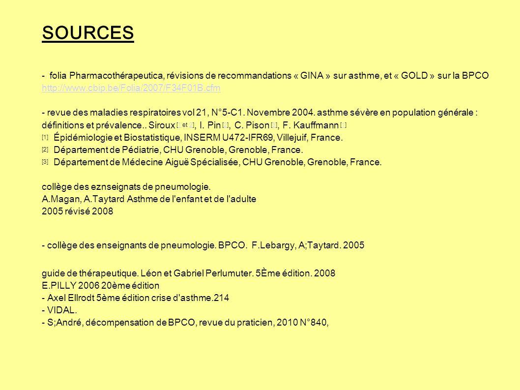 SOURCES - folia Pharmacothérapeutica, révisions de recommandations « GINA » sur asthme, et « GOLD » sur la BPCO http://www.cbip.be/Folia/2007/F34F01B.