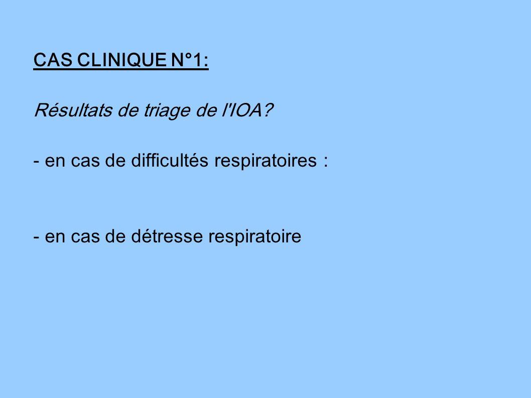 CAS CLINIQUE N°1: Résultats de triage de l'IOA? - en cas de difficultés respiratoires : - en cas de détresse respiratoire