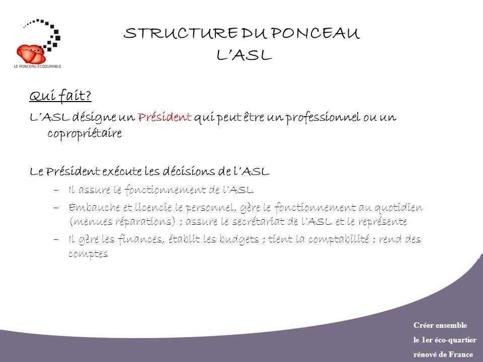Créer ensemble le 1er éco-quartier rénové de France STRUCTURE DU PONCEAU LASL Qui fait? LASL désigne un Président qui peut être un professionnel ou un