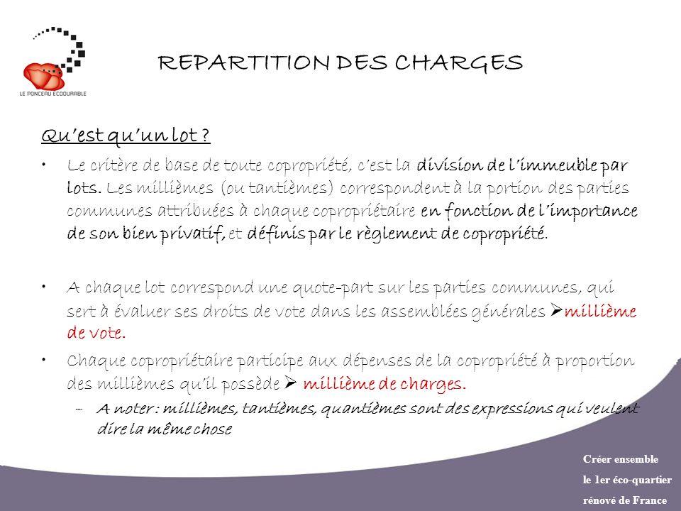 Créer ensemble le 1er éco-quartier rénové de France REPARTITION DES CHARGES Quest quun lot ? Le critère de base de toute copropriété, cest la division
