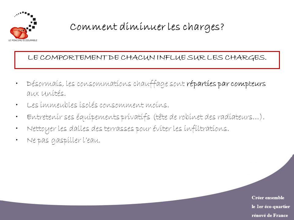 Créer ensemble le 1er éco-quartier rénové de France Comment diminuer les charges? LE COMPORTEMENT DE CHACUN INFLUE SUR LES CHARGES. Désormais, les con