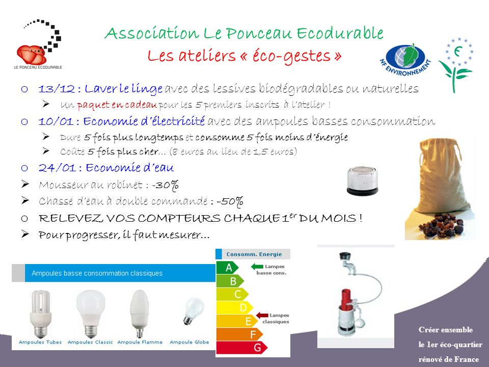 Créer ensemble le 1er éco-quartier rénové de France Association Le Ponceau Ecodurable Les ateliers « éco-gestes » o 13/12 : Laver le linge avec des le