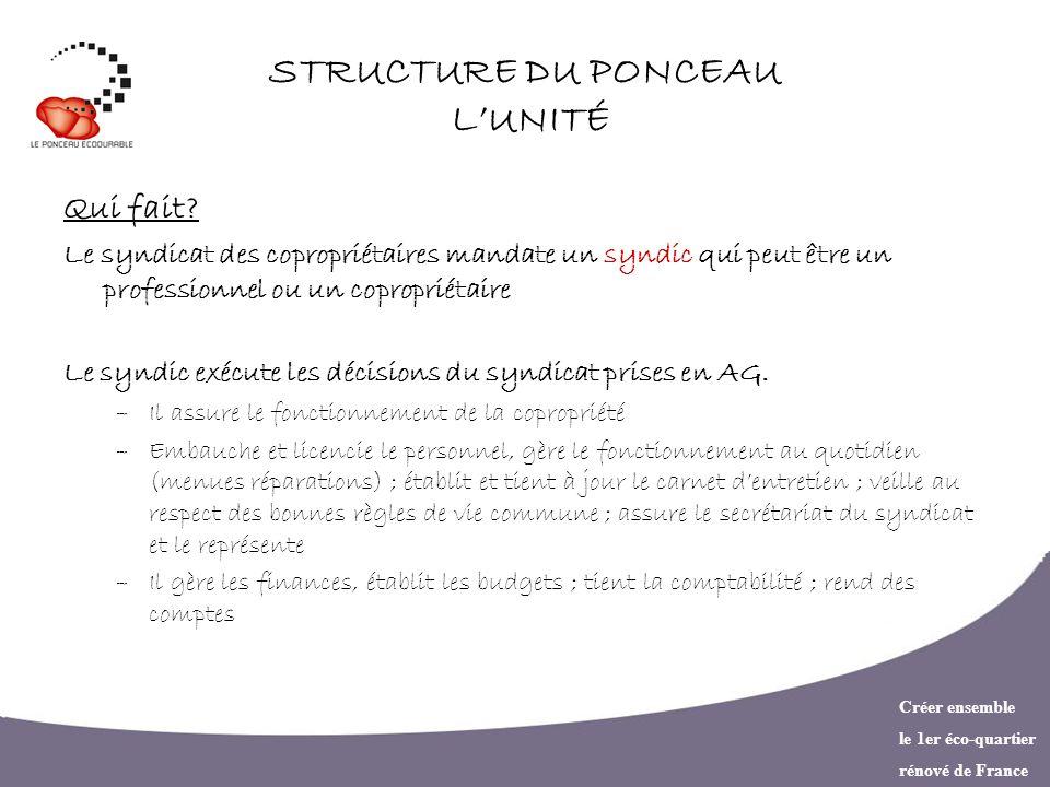 Créer ensemble le 1er éco-quartier rénové de France STRUCTURE DU PONCEAU LUNITÉ Qui contrôle.