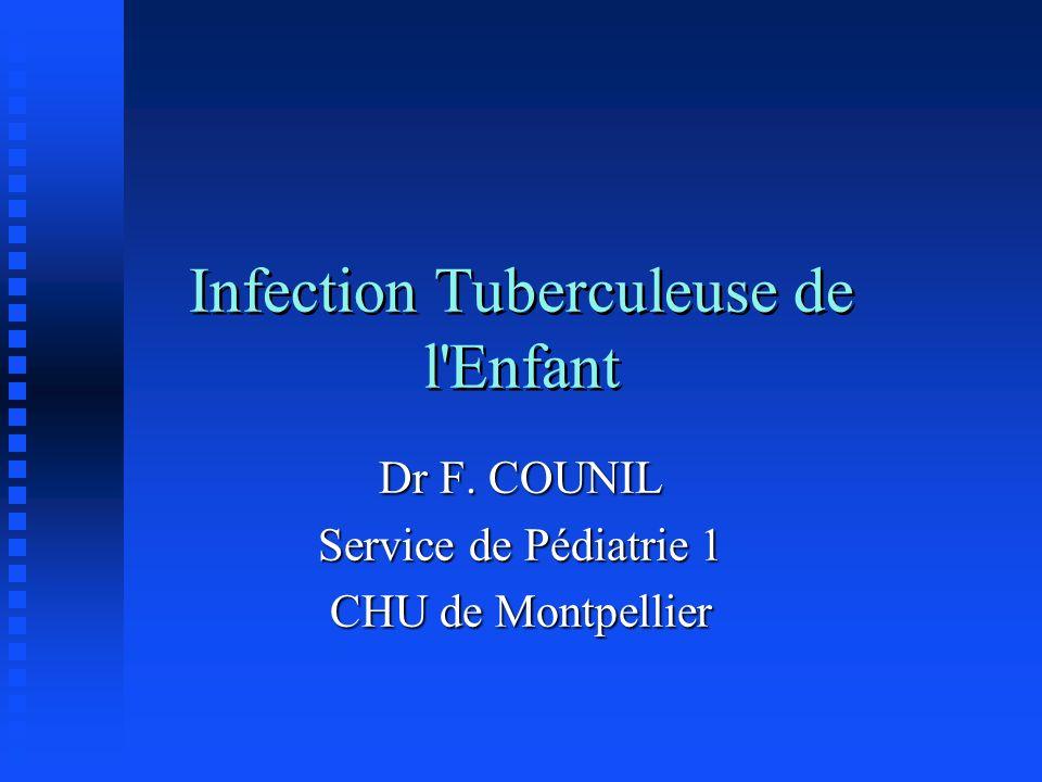 Infection Tuberculeuse de l'Enfant Dr F. COUNIL Service de Pédiatrie 1 CHU de Montpellier
