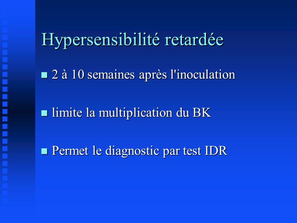 Hypersensibilité retardée n 2 à 10 semaines après l'inoculation n limite la multiplication du BK n Permet le diagnostic par test IDR