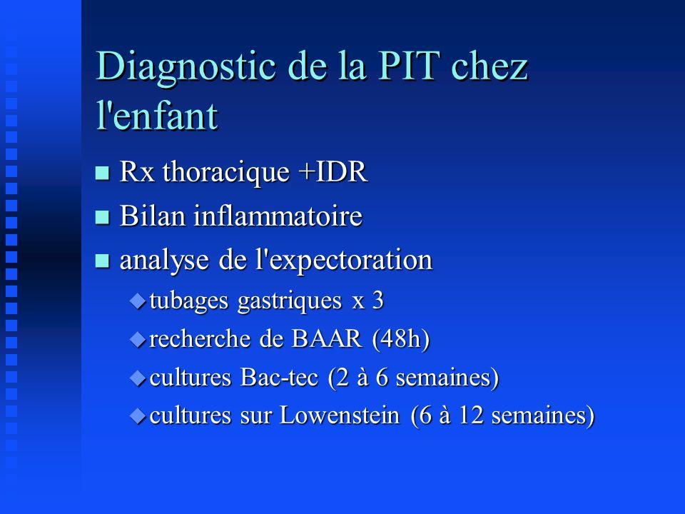 Diagnostic de la PIT chez l'enfant n Rx thoracique +IDR n Bilan inflammatoire n analyse de l'expectoration u tubages gastriques x 3 u recherche de BAA