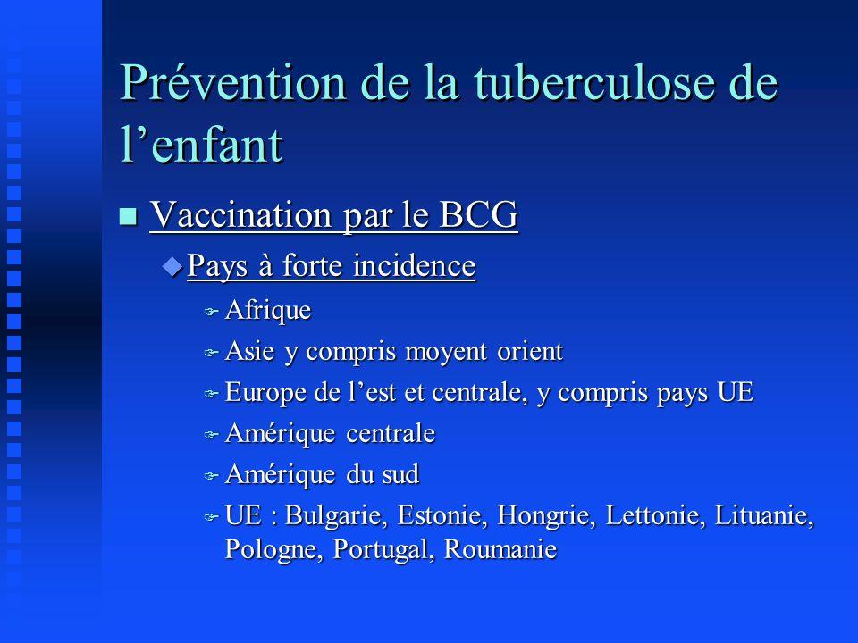 Prévention de la tuberculose de lenfant n Vaccination par le BCG u Pays à forte incidence F Afrique F Asie y compris moyent orient F Europe de lest et