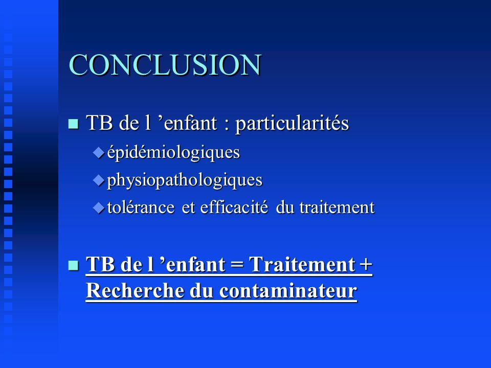 CONCLUSION n TB de l enfant : particularités u épidémiologiques u physiopathologiques u tolérance et efficacité du traitement n TB de l enfant = Trait