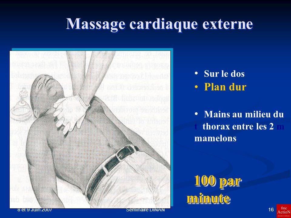 8 et 9 Juin 2007 16Séminaire DINAN Massage cardiaque externe 100 par minute 100 par minute Sur le dos Plan dur Mains au milieu du t thorax entre les 2