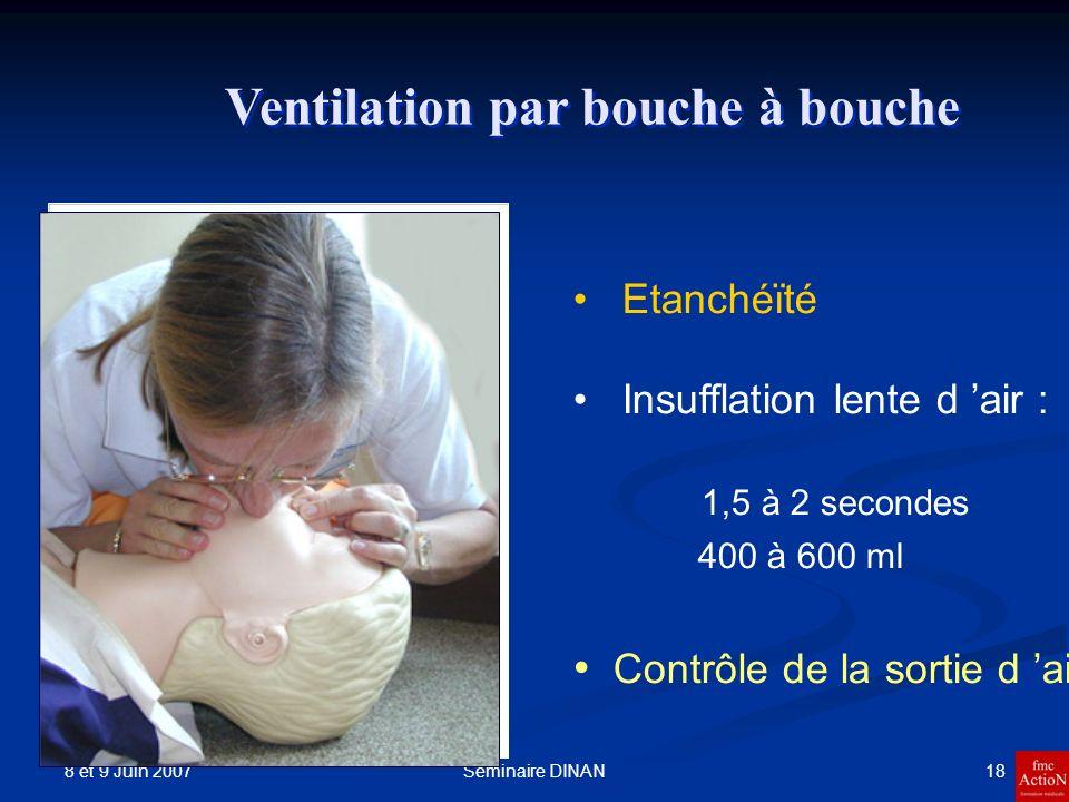 8 et 9 Juin 2007 18Séminaire DINAN Ventilation par bouche à bouche Etanchéïté Insufflation lente d air : 1,5 à 2 secondes 400 à 600 ml Contrôle de la