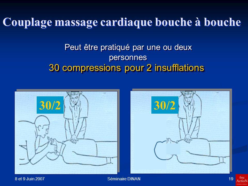 8 et 9 Juin 2007 19Séminaire DINAN Couplage massage cardiaque bouche à bouche 30 compressions pour 2 insufflations Peut être pratiqué par une ou deux