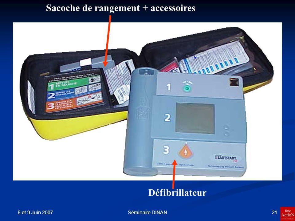 8 et 9 Juin 2007 21Séminaire DINAN Défibrillateur Sacoche de rangement + accessoires