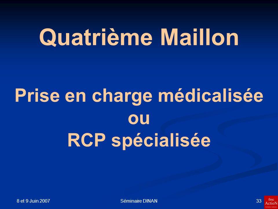 8 et 9 Juin 2007 34Séminaire DINAN Quatrième Maillon Défibrillation précoce Réanimation respiratoire spécialisée Oxygène Intubation La ventilation artificielle VVP Gélatine Glucosé à 5% Salé à 0.9 %