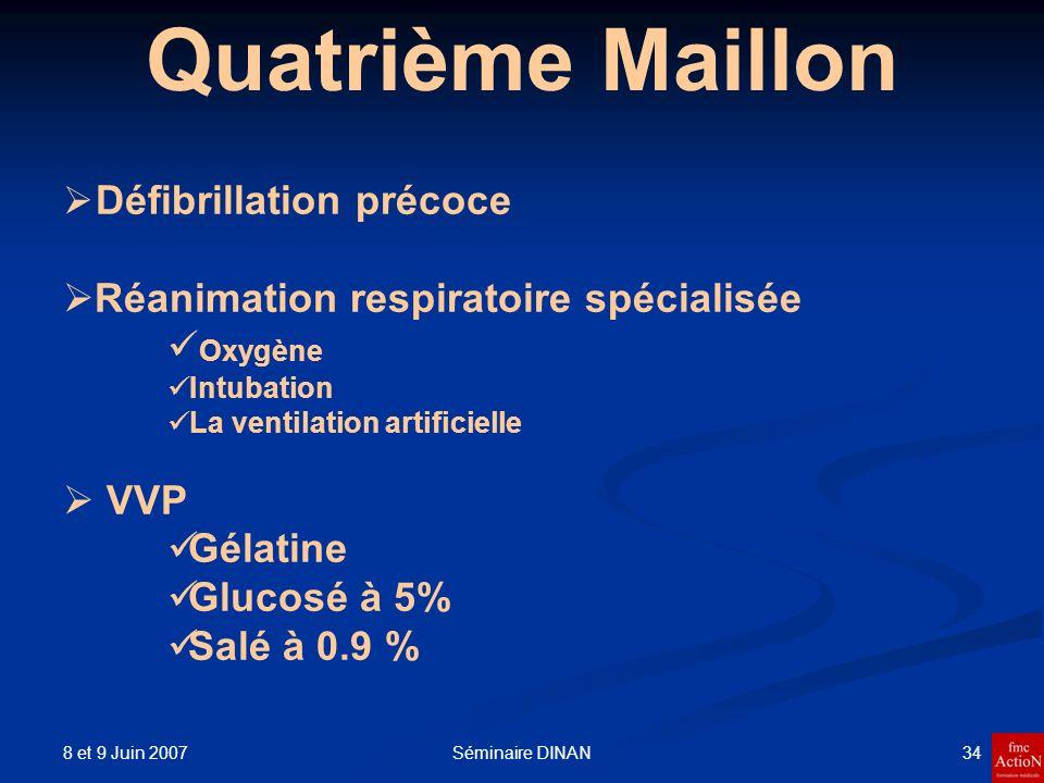 8 et 9 Juin 2007 34Séminaire DINAN Quatrième Maillon Défibrillation précoce Réanimation respiratoire spécialisée Oxygène Intubation La ventilation art