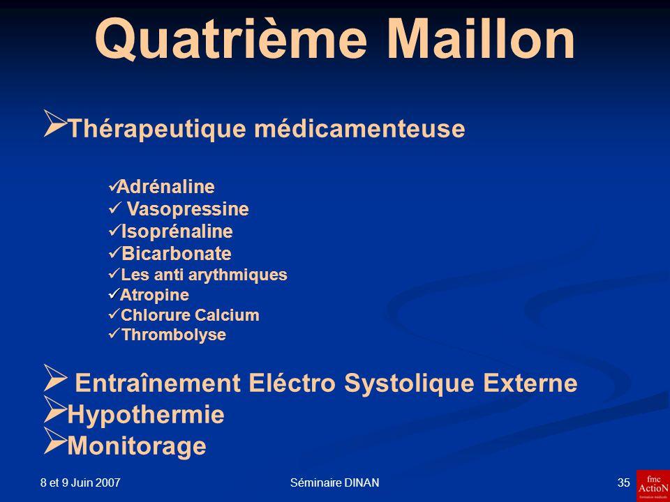 8 et 9 Juin 2007 35Séminaire DINAN Quatrième Maillon Thérapeutique médicamenteuse Adrénaline Vasopressine Isoprénaline Bicarbonate Les anti arythmique