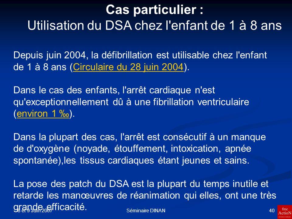 8 et 9 Juin 2007 40Séminaire DINAN Depuis juin 2004, la défibrillation est utilisable chez l'enfant de 1 à 8 ans (Circulaire du 28 juin 2004).Circulai