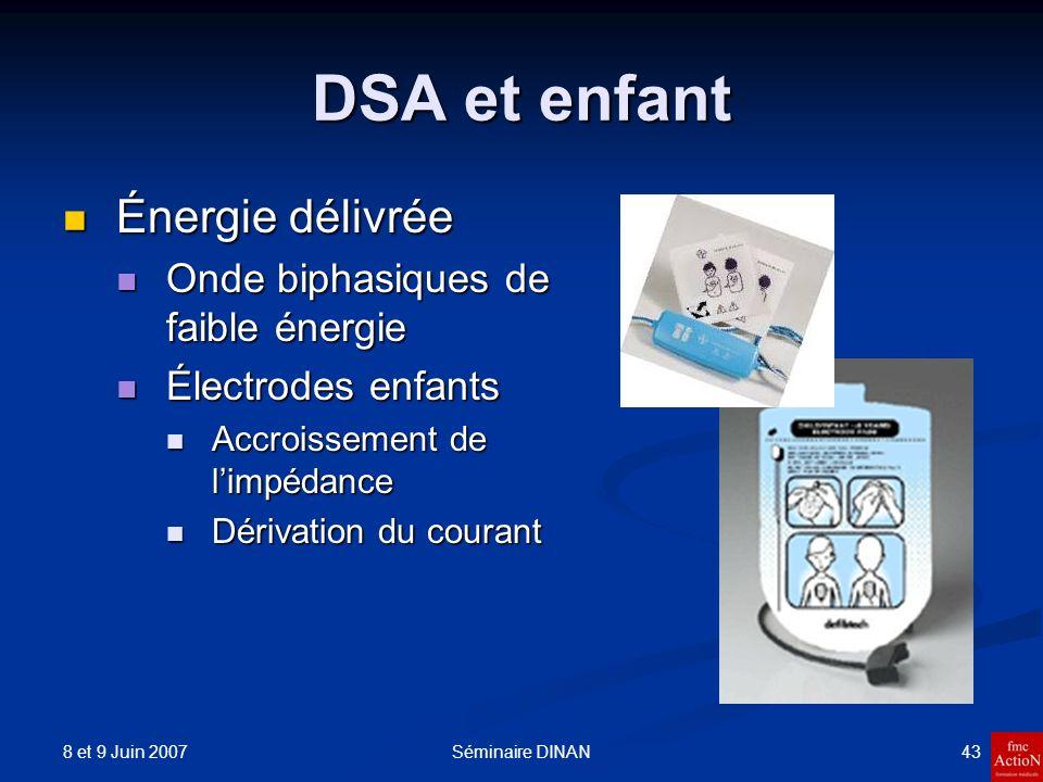 8 et 9 Juin 2007 43Séminaire DINAN DSA et enfant Énergie délivrée Énergie délivrée Onde biphasiques de faible énergie Onde biphasiques de faible énerg