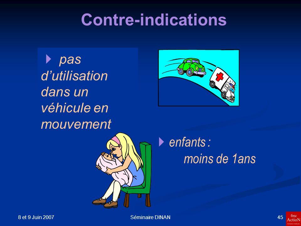 8 et 9 Juin 2007 45Séminaire DINAN Contre-indications enfants : moins de 1ans pas dutilisation dans un véhicule en mouvement