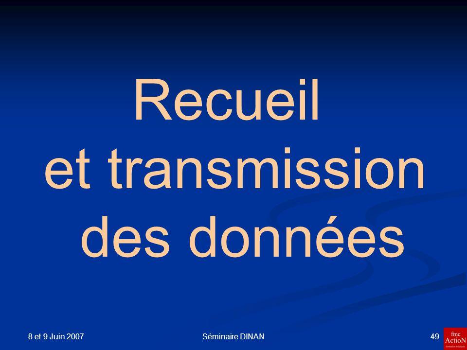 8 et 9 Juin 2007 50Séminaire DINAN Transmission des données de lutilisation du DSA