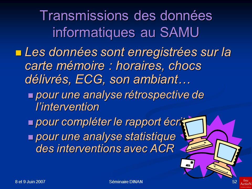8 et 9 Juin 2007 52Séminaire DINAN Transmissions des données informatiques au SAMU Les données sont enregistrées sur la carte mémoire : horaires, choc