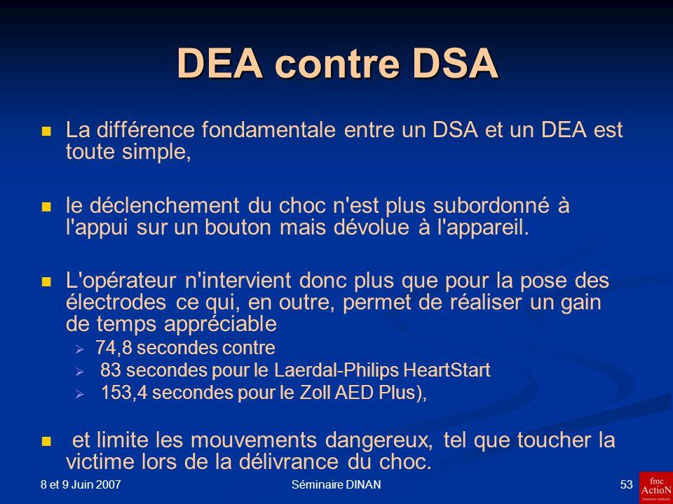 8 et 9 Juin 2007 53Séminaire DINAN DEA contre DSA La différence fondamentale entre un DSA et un DEA est toute simple, le déclenchement du choc n'est p