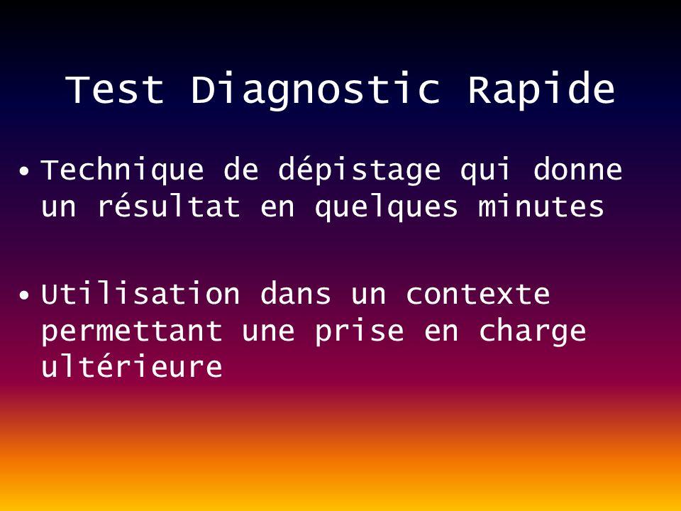 Test Diagnostic Rapide Technique de dépistage qui donne un résultat en quelques minutes Utilisation dans un contexte permettant une prise en charge ultérieure