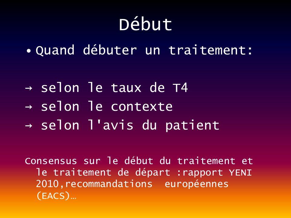 Début Quand débuter un traitement: selon le taux de T4 selon le contexte selon l avis du patient Consensus sur le début du traitement et le traitement de départ :rapport YENI 2010,recommandations européennes (EACS)…
