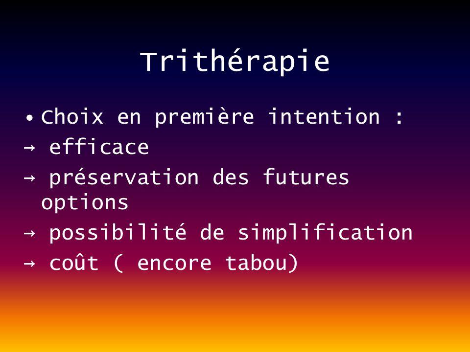 Trithérapie Choix en première intention : efficace préservation des futures options possibilité de simplification coût ( encore tabou)