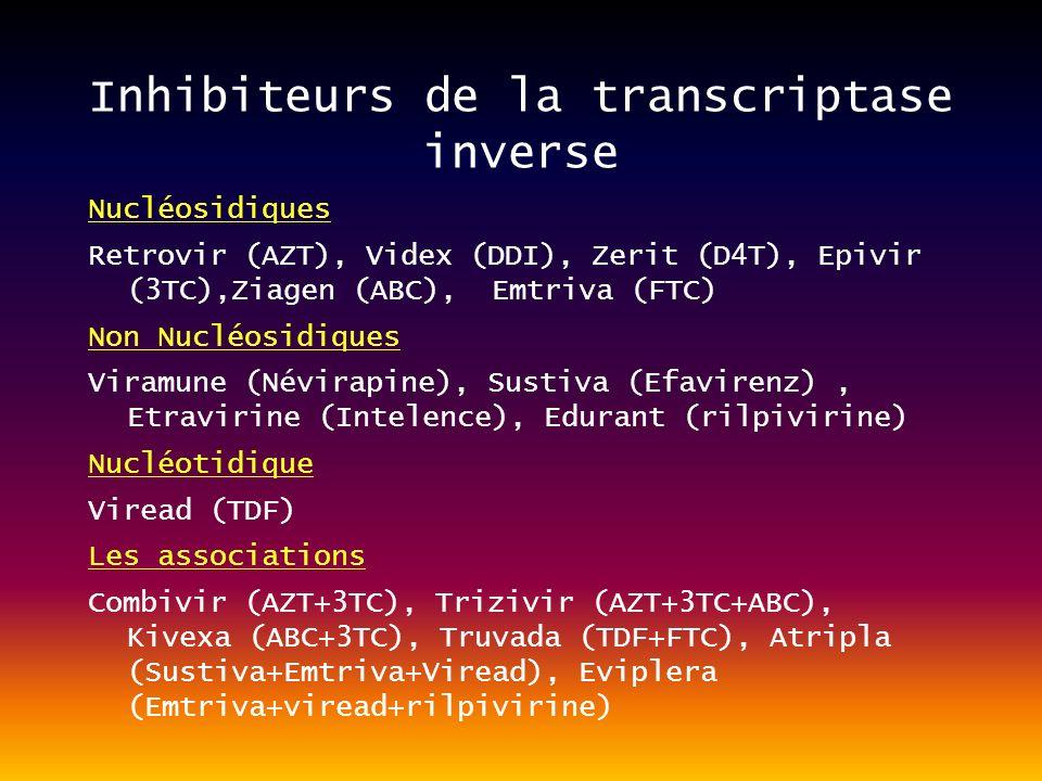 Inhibiteurs de la transcriptase inverse Nucléosidiques Retrovir (AZT), Videx (DDI), Zerit (D4T), Epivir (3TC),Ziagen (ABC), Emtriva (FTC) Non Nucléosidiques Viramune (Névirapine), Sustiva (Efavirenz), Etravirine (Intelence), Edurant (rilpivirine) Nucléotidique Viread (TDF) Les associations Combivir (AZT+3TC), Trizivir (AZT+3TC+ABC), Kivexa (ABC+3TC), Truvada (TDF+FTC), Atripla (Sustiva+Emtriva+Viread), Eviplera (Emtriva+viread+rilpivirine)
