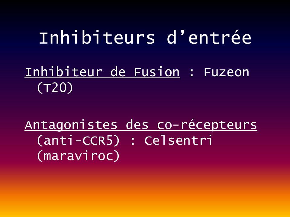 Inhibiteurs dentrée Inhibiteur de Fusion : Fuzeon (T20) Antagonistes des co-récepteurs (anti-CCR5) : Celsentri (maraviroc)
