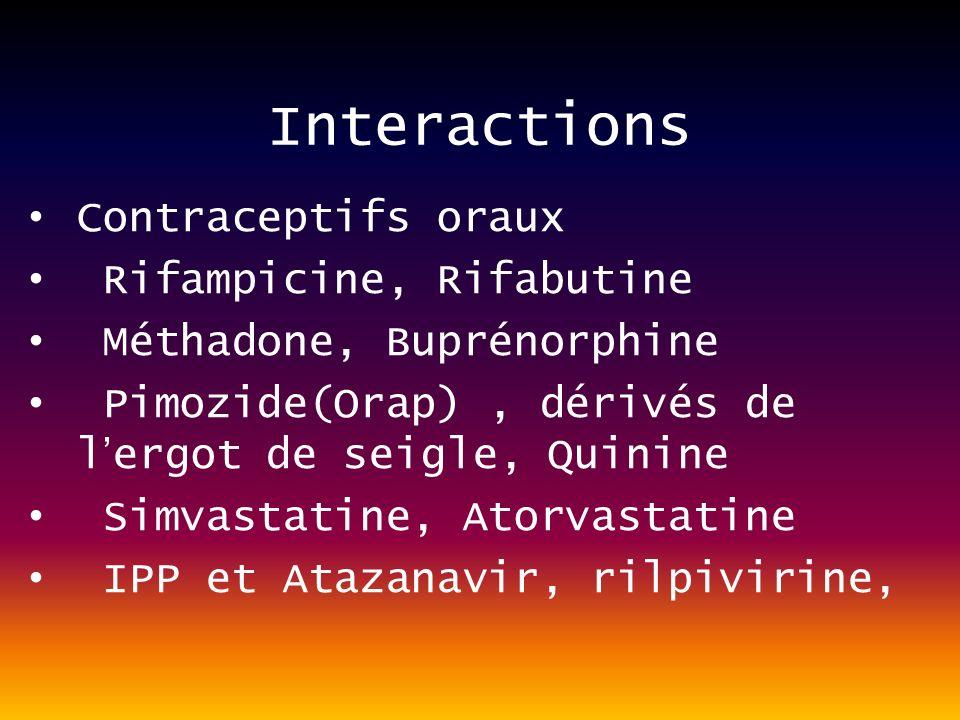 Interactions Contraceptifs oraux Rifampicine, Rifabutine Méthadone, Buprénorphine Pimozide(Orap), dérivés de lergot de seigle, Quinine Simvastatine, Atorvastatine IPP et Atazanavir, rilpivirine,