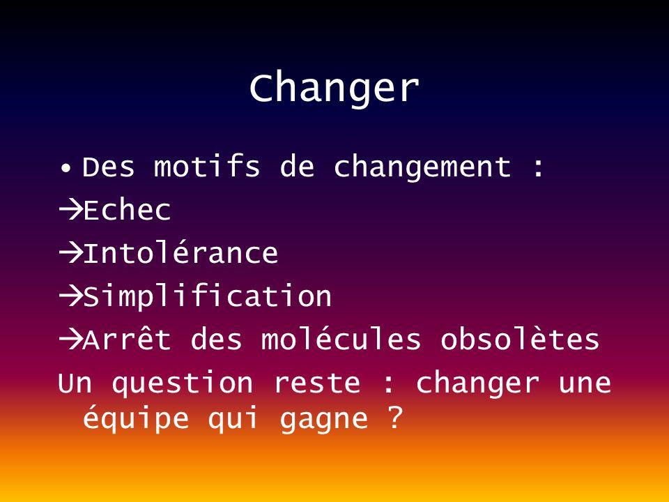 Changer Des motifs de changement : Echec Intolérance Simplification Arrêt des molécules obsolètes Un question reste : changer une équipe qui gagne ?