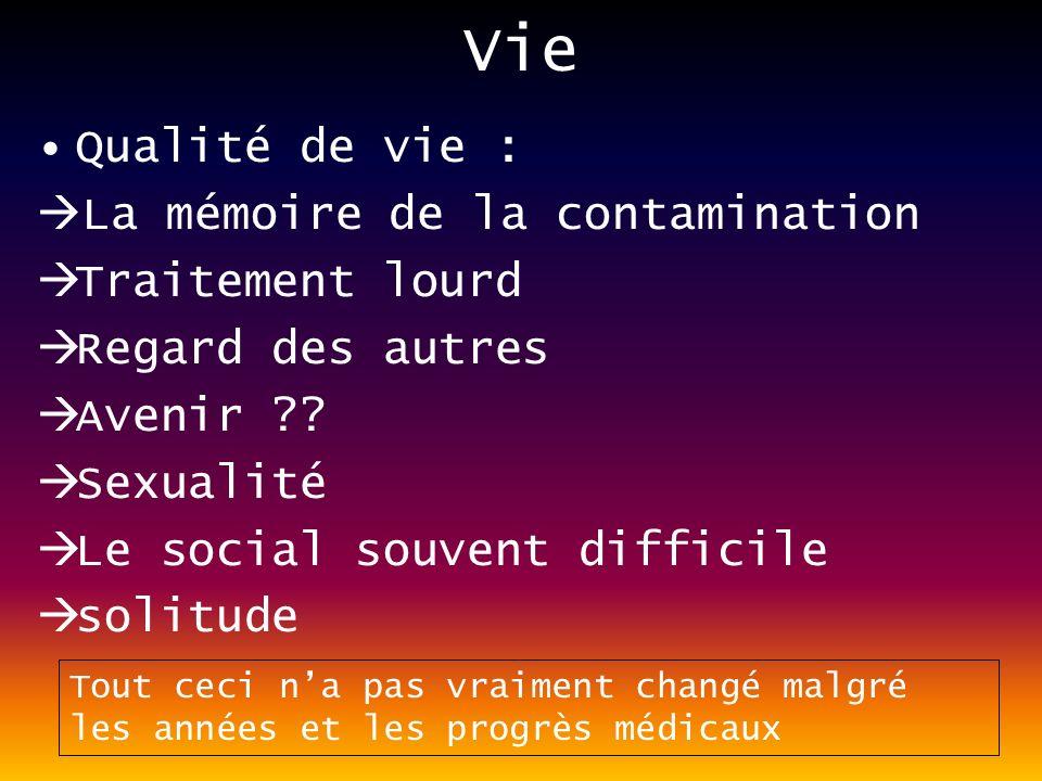 Vie Qualité de vie : La mémoire de la contamination Traitement lourd Regard des autres Avenir ?.