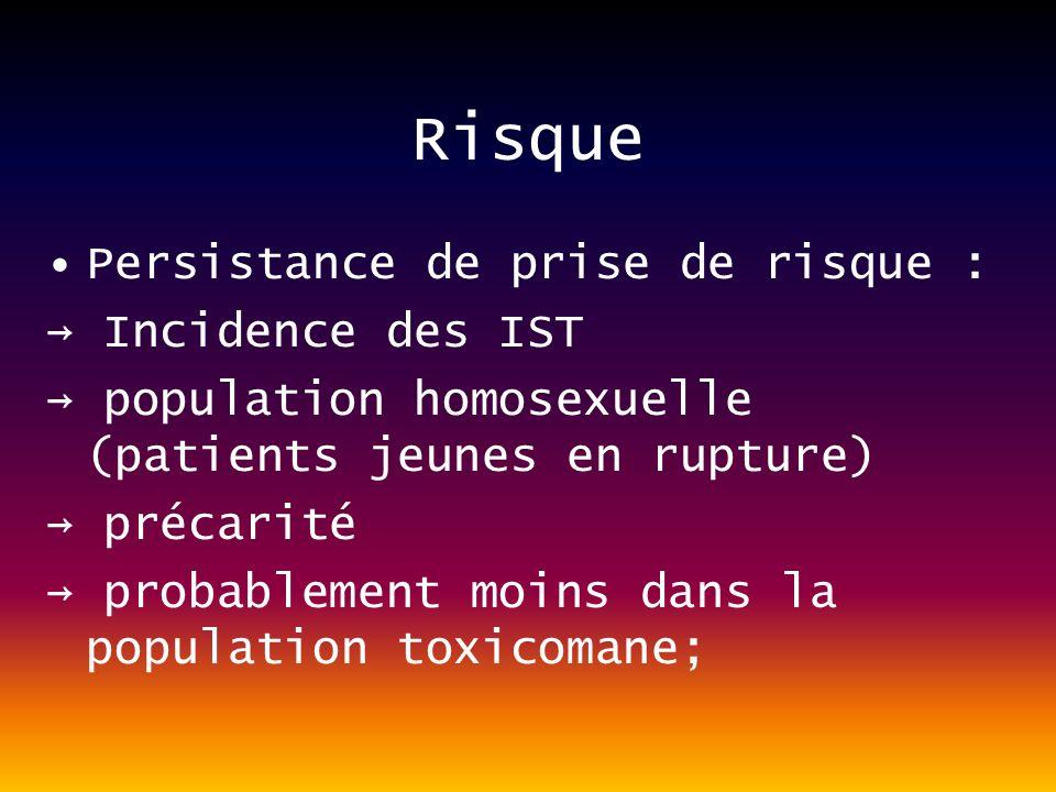 Risque Persistance de prise de risque : Incidence des IST population homosexuelle (patients jeunes en rupture) précarité probablement moins dans la population toxicomane;