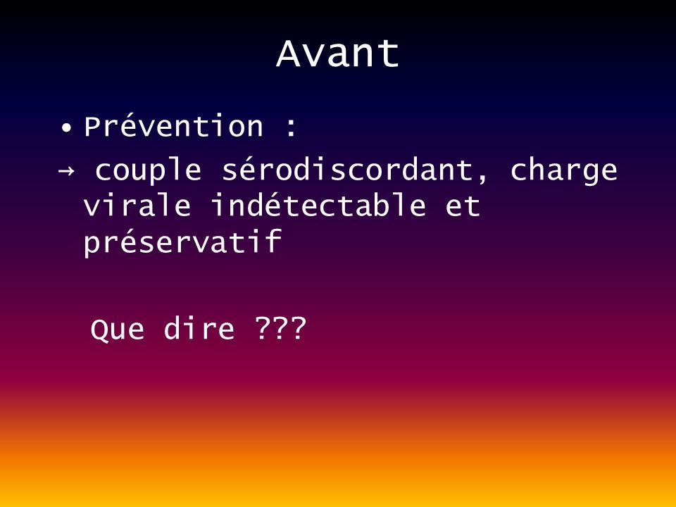 Avant Prévention : couple sérodiscordant, charge virale indétectable et préservatif Que dire ???